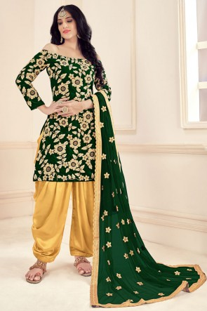 Green Embroidered Stone Work Velvet Embroidered Patiala Suit With Net Dupatta