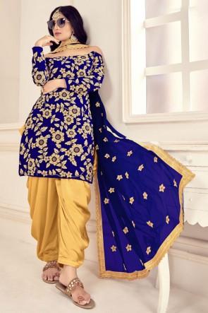Blue Embroidered Stone Work Velvet Fabric Patiala Suit Whit Net Dupatta