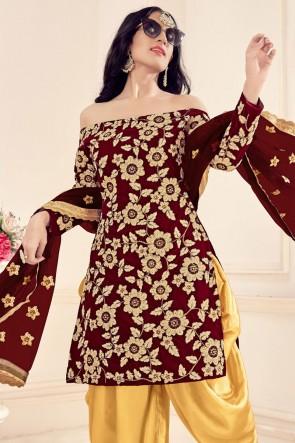 Maroon Velvet Embroidered Stone Work Patiala Suit Whit Net Dupatta