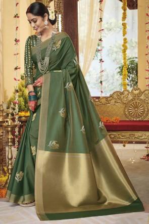 Zari Work Pink Silk Fabric Saree With Blouse