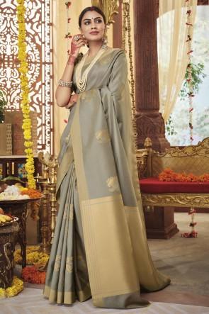 Grey Silk Fabric Weaving Work Designer Saree With Blouse
