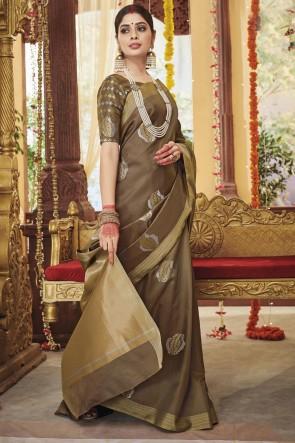 Stunning Beige Silk Fabric Weaving Work Saree With Blouse