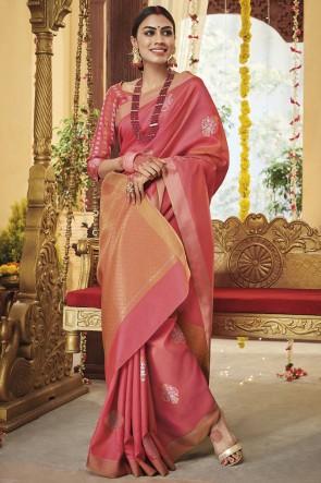 Silk Fabric Zari Work Designer Pink Lovely Saree With Blouse
