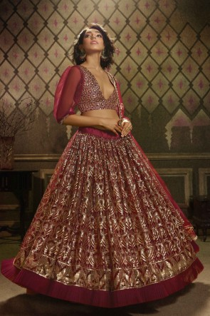 Sequins Work Designer Maroon Net Fabric Lehenga Choli With Dupatta