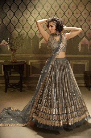 Sequins Work Grey Net Designer Lehenga Choli With Dupatta