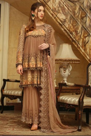 Embroidered Faux Georgette Beige Pakistani Suit With Dupatta