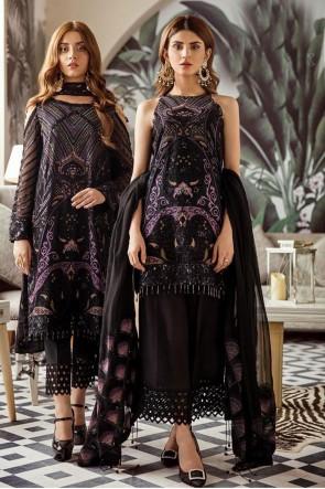 Georgette Embroidered Designer Black Pakistani Suit With  Dupatta