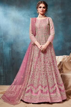 Embroidered Zari Work Pink Net Abaya Style Anarkali Suit With Net Dupatta