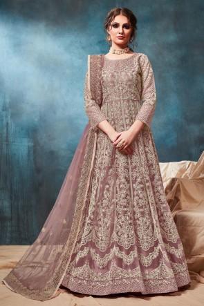 Light Brown Net Embroidered Zari Work Abaya Style Anarkali Suit With Net Dupatta