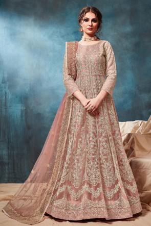 Peach Net Embroidered Zari Work Abaya Style Anarkali Suit With Net Dupatta
