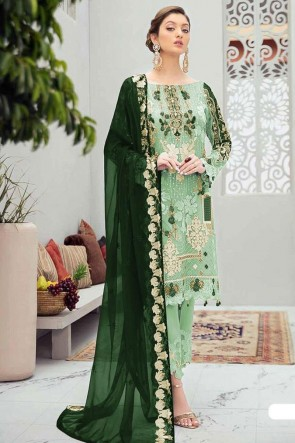 Light Green Net Embroidery Stone Worked Pakistani Suit With Net Dupatta