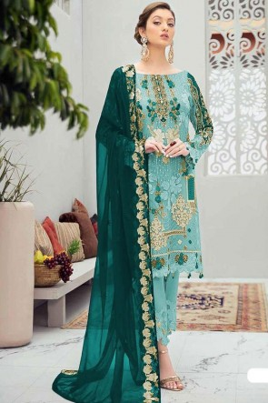 Blue Net Fabric Embroidery Stone Worked Pakistani Suit With Net Dupatta