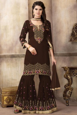 Brown Embroidered Fuax Georgette Fabric Plazzo Suit With Dupatta