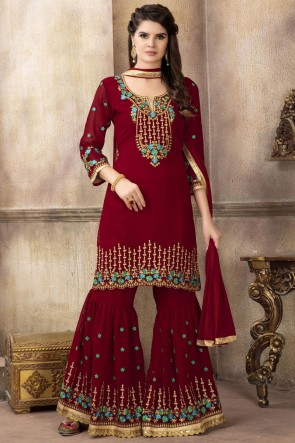 Embroidered Red Fuax Georgette Fabric Plazzo Suit With Dupatta