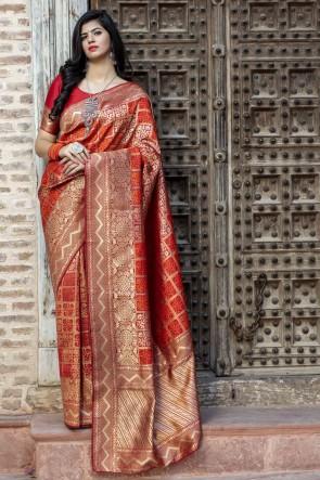 Lovely Red Banarasi Silk Fabric Designer Weaving Work Saree With Blouse