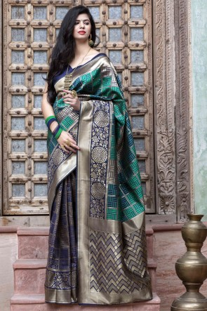 Banarasi Silk Fabric Weaving Work Designer Navy Blue Saree With Blouse