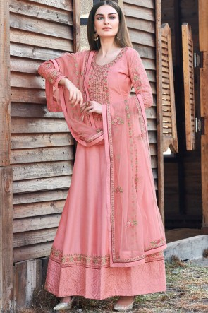 Embroidered Light Pink Silk Abaya Style Anarkali Suit With Silk Dupatta