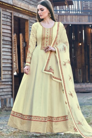 Cream Silk Embroidered Abaya Style Anarkali Suit With Silk Dupatta