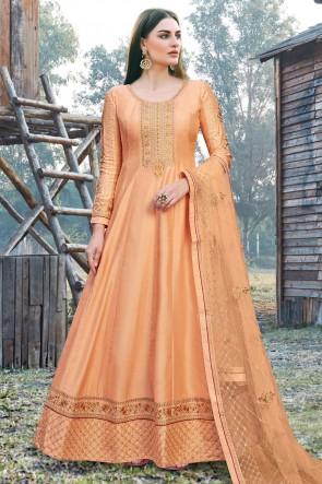 Abaya Style Orange Embroidered  Silk Anarkali Suit With Silk Dupatta