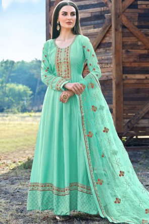 Aqua Silk Embroidered  Abaya Style Anarkali Suit With Silk Dupatta