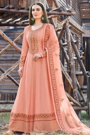Peach Silk Embroidered  Abaya Style Anarkali Suit With Silk Dupatta
