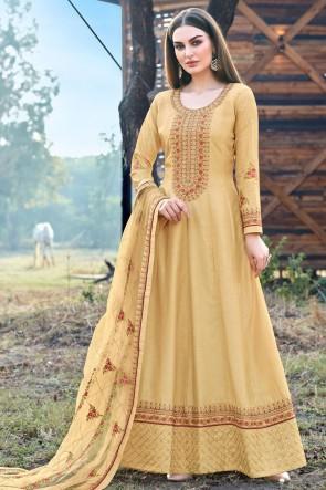 Abaya Style Yellow Embroidered  Silk Anarkali Suit With Silk Dupatta