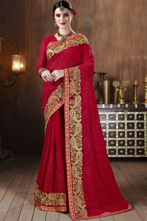 Embroidered Stone Work Red Georgette Fabric Saree With Blouse