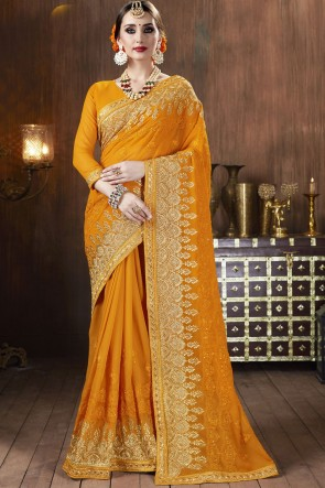 Georgette Fabric Yellow A Designer Saree With Blouse