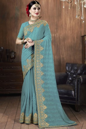 Sky Blue Georgette Fabric Embroidered Stone Work Designer Saree With Blouse