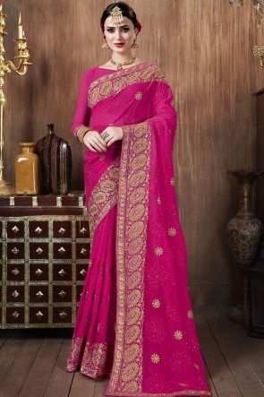 Lovely Pink Georgette Fabric Embroidered Stone Work Saree With Blouse