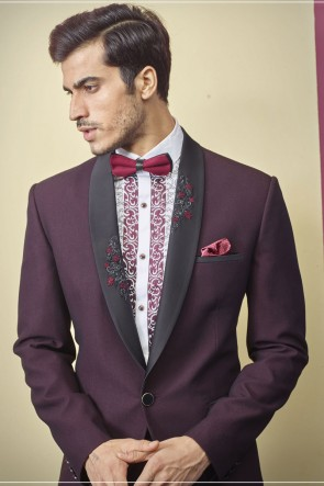Imported Fabric Wine Readymade Mens Suit