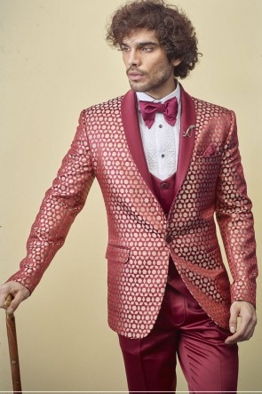Designer Red Imported Fabric Readymade Mens Suit