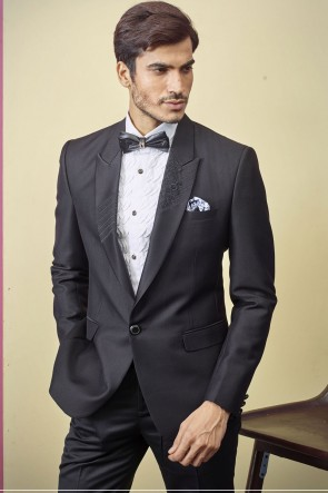 Black Imported Fabric Readymade Mens Suit