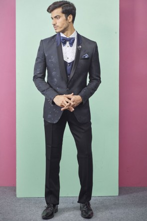 Imported Fabric Navy Blue Stylish Readymade Mens Suit