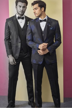 Imported Fabric Black Designer Readymade Mens Suit