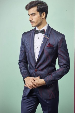 Blue Imported Fabric Readymade Mens Suit