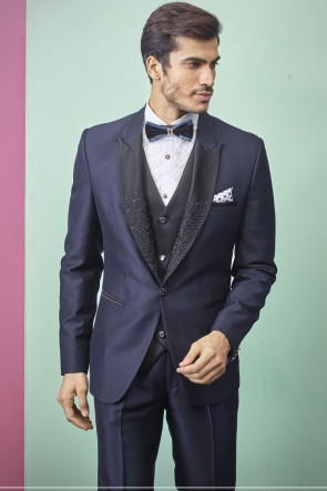Imported Fabric Navy Blue Readymade Mens Suit