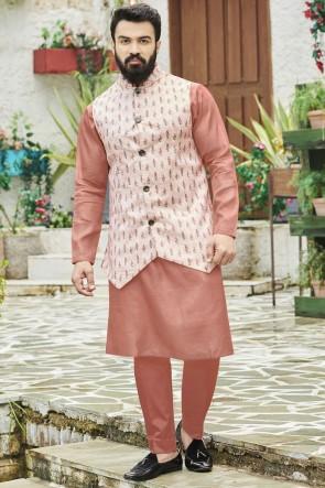 Cotton Fabric Peach Stylish Kurta Payjama With Tussar Silk Jacket