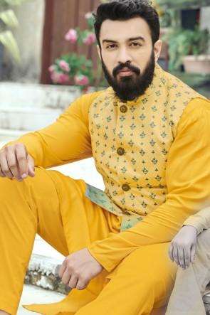Cotton Fabric Mustard Stylish Kurta Payjama With Tussar Silk Jacket
