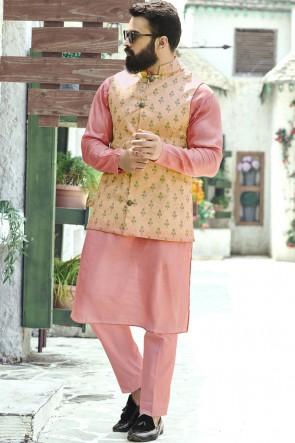 Pink Cotton Fabric Kurta Payjama With Tussar Silk Jacket