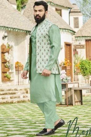 Sea Green Cotton Fabric Kurta Payjama With Tussar Silk Jacket