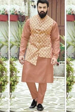 Cotton Fabric Peach Kurta Payjama With Tussar Silk Jacket