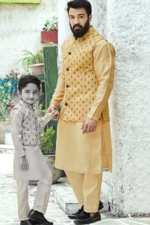 Cotton Fabric Saffron Stylish Kurta Payjama With Tussar Silk Jacket
