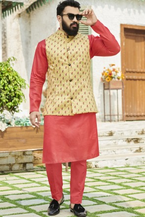Cotton Fabric Beige Designer Kurta Payjama With Tussar Silk Jacket