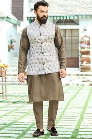Brown Cotton Fabric Kurta Payjama With Tussar Silk Jacket
