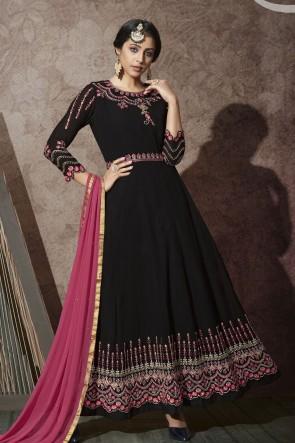 Abaya Style Black Embroidered Stone Work Georgette Anarkali Suit With Chiffon Dupatta