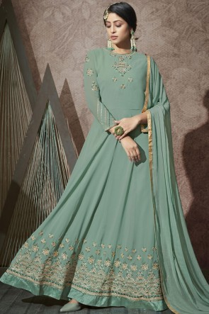 Embroidered Stone Work Sea Green Georgette Abaya Style Anarkali Suit With Chiffon Dupatta
