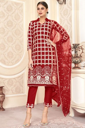 Lovely Red Net Embroidered Mirror Work Designer Salwar Suit With Dupatta