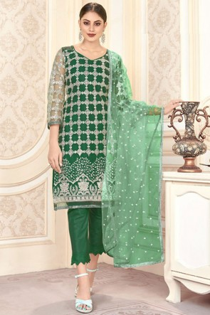 Green Embroidered Mirror Work Net Fabric Salwar Suit With Dupatta