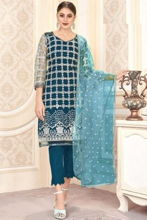 Net Blue Embroidered Mirror Work Designer Salwar Suit With Dupatta